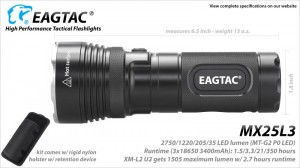 EAGTAC MX25L3 XM-L2 U2 LED 1505 Lumen max. Base